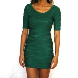 Green textured mini dress